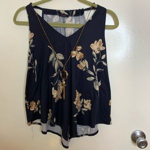 First love navy blouse with floral accent